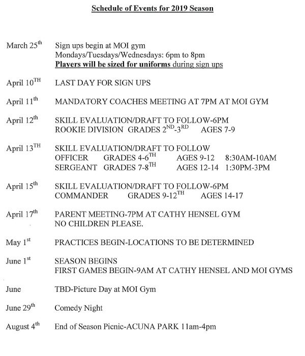 Schedule of Events for 2019 Season